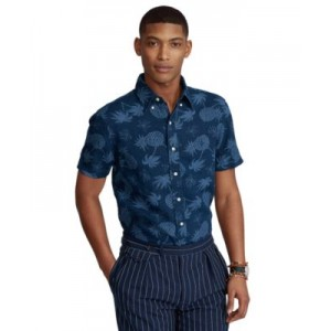Mens Big & Tall Pineapple-Print Linen Shirt