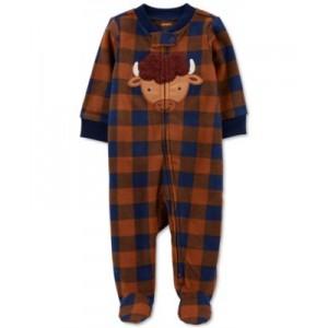Baby Boys Plaid Zip-Up Fleece Coverall
