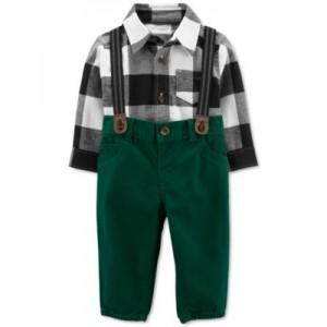 Baby Boys 2-Pc. Plaid Bodysuit & Suspender Pants Set