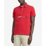 Mens Custom-Fit Toby Embroidered Logo Pique Polo