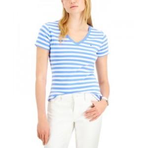 Cotton Striped V-Neck T-Shirt