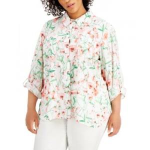 Plus Size Floral-Print Roll-Tab Shirt