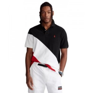 Mens Big & Tall Banner-Stripe Mesh Polo Shirt