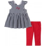 Toddler Girls 2-Piece Flare Gingham Tunic and Capri Jeggings Set
