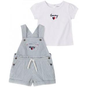 Little Girls Signature T-shirt and Denim Shortalls Set, 2-Piece