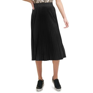 Pleated Faux-Suede Midi Skirt