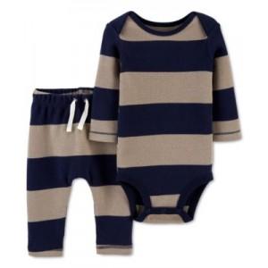 Baby Boys 2-Pc. Striped Thermal Bodysuit & Pants Set