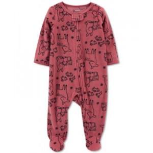 Baby Boys or Girls Deer-Print Fleece Coverall