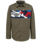 Big Boys Camouflage Color Block Twill Shirt