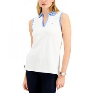 Printed-Collar Sleeveless Polo