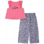 Little Girls 2-Piece Flyaway Top and Wide-Leg Printed Pants Set