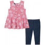 Little Girls 2-Piece Twist-Front Tunic and Capri Jeggings Set