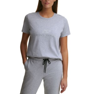 DYNY Sport Womens Cotton Rhinestone-Logo T-Shirt