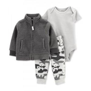 Baby Boys 3-Pc. Bodysuit, Pants & Fleece Jacket Set