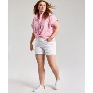 Plus Size Cotton Cuffed Shirt