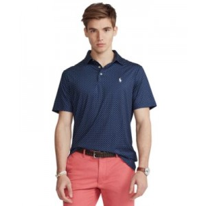 Mens Big & Tall Diamond-Print Performance Polo Shirt
