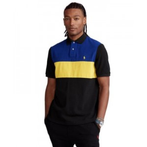 Mens Big & Tall Color-Blocked Mesh Polo Shirt