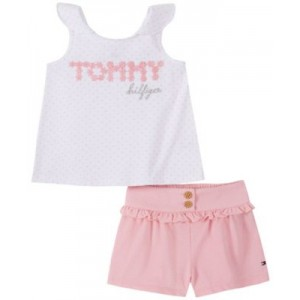 Little Girls Printed Top and Knit Shorts Set, 2-Piece