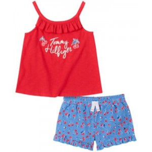 Toddler Girls Ruffled Tank Top and Floral Shorts Set, 2-Piece