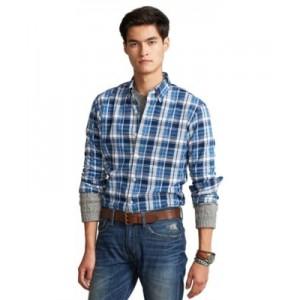 Mens Classic-Fit Plaid Performance Shirt