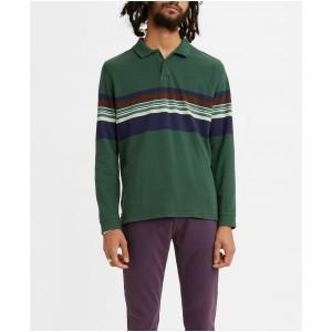 Mens Long Sleeve Striped Pique Polo Shirt