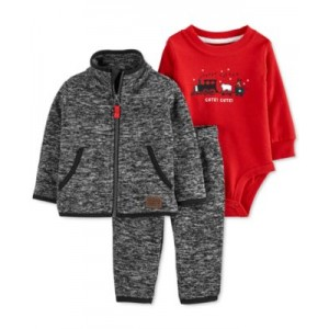 Baby Boys 3-Pc. Marled Fleece Cardigan, Pants & Bodysuit Set