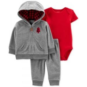 Baby Boys 3-Pc. Bodysuit, Pants & Buffalo-Plaid Jacket Set