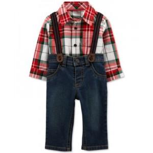 Baby Boys 3-Pc. Plaid Shirt, Jeans & Suspenders Set