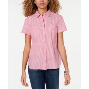 Striped Camp Button-Up Shirt