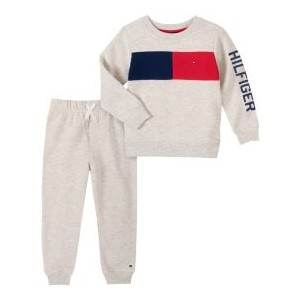 Toddler Fleece Crewneck with Chest Stripe and Fleece Pant Set, 2 Piece