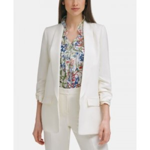 Open-Front Ruched-Sleeve Blazer