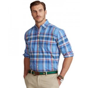 Mens Big & Tall Plaid Linen Shirt
