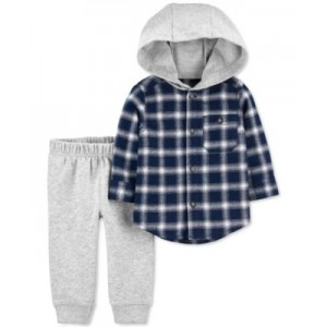 Baby Boys 2-Pc. Button-Front Flannel Top & Pants Set
