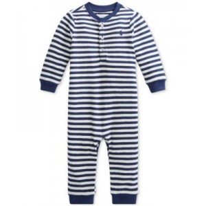 Baby Boys Striped Waffle-Knit Cotton Coverall