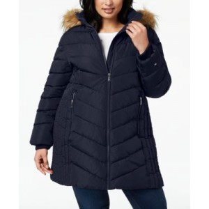 Plus Size Faux-Fur Trim Hooded Water-Resistant Puffer Coat, Created for Macys