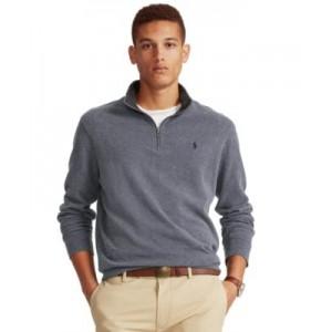 Mens Big & Tall Jersey Quarter-Zip Pullover