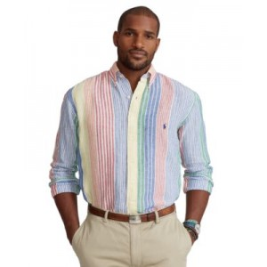 Mens Big & Tall Classic-Fit Striped Linen Shirt