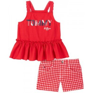 Little Girls Ruffled Tank Top and Check Shorts Set, 2-Piece