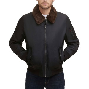 Mens Flight Bomber Jacket with a Faux Fur Removable Collar