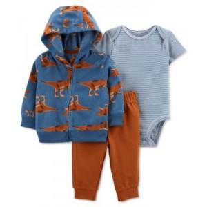Baby Boys 3-Pc. Bodysuit, Pants & Dino-Print Jacket Set