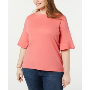 Plus Size Cotton Flared-Sleeve Top, Created for Macys