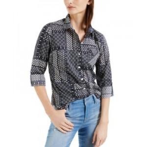 Daisy-Print Roll-Tab Cotton Shirt