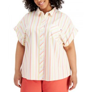 Plus Size Striped Extended-Shoulder Shirt
