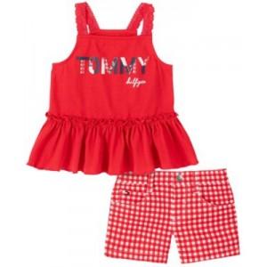 Toddler Girls Ruffled Tank Top and Check Shorts Set, 2-Piece