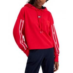 Womens Drop-Shoulder Logo-Tape Hoodie