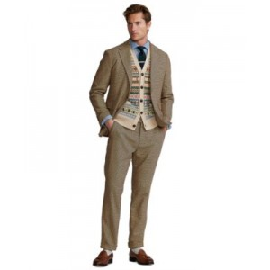 Mens Polo Soft Checked Stretch Suit Jacket
