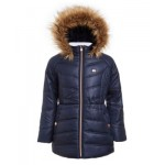 Big Girls Puffer Jacket With Faux Fur Hood