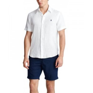 Mens Short-Sleeve Linen Button-Up