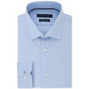 Mens Slim-Fit Non-Iron TH Flex Performance Stretch Dot-Print Supima Cotton Dress Shirt