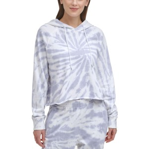 Sport Womens Cotton Tie-Dyed Cropped Hoodie
